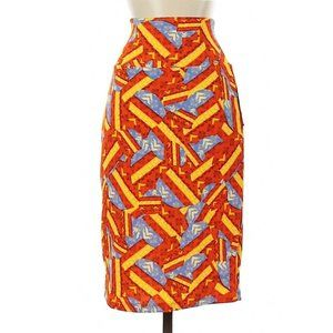 LuLaRoe NWT Small Cassie Skirt Orange Yellow Blue
